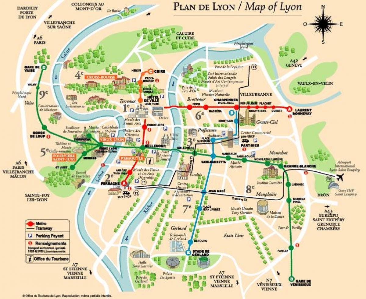 karta lyon frankrike Lyon rundvandring karta   Karta över rundvandring karta (Auvergne  karta lyon frankrike